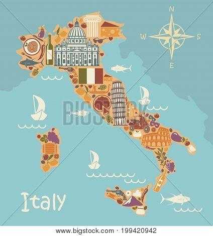 Stylized map of Italy with historical symbols of Italian cuisine architecture culture and nature