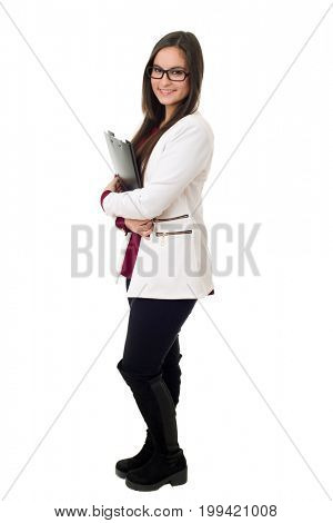 young business woman full lenght isolated on white background