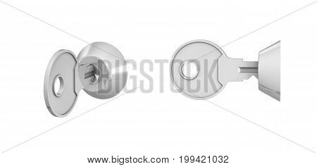 3d rendering of 2 keys inside keylock switches on white background. Opening and closing. Locking up. Safety measures.