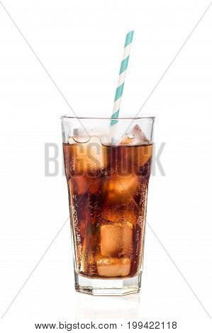 Cold Glass Of Cola Isolated