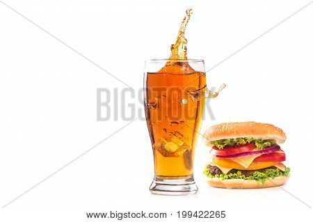 Burger And Glass Of Beer