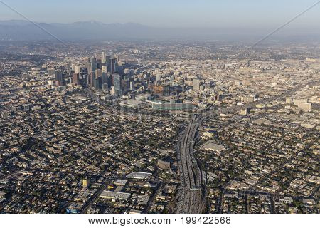 Aerial of summer smog above downtown Los Angeles in Southern California.