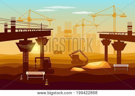Bridge construction professional modern large scale construction bridge industry background
