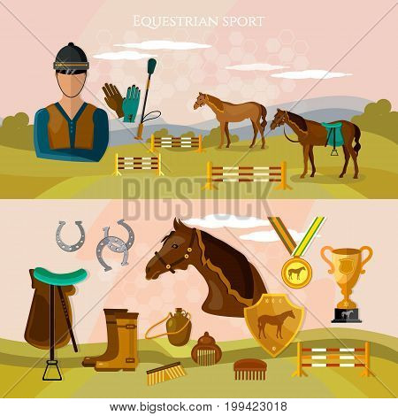 Equestrian sport banner professional jockey club horse racing banner. Horse riding vector
