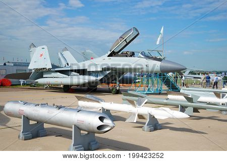 ZHUKOVSKY, RUSSIA - JULY 20, 2017: The Russian deck multi-purpose fighter of the fourth generation MiG-29K n the MAKS-2017 air show