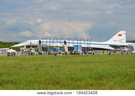 ZHUKOVSKY, RUSSIA - JULY 20, 2017: Soviet supersonic passenger aircraft Tu-144 on the MAKS-2017 air show