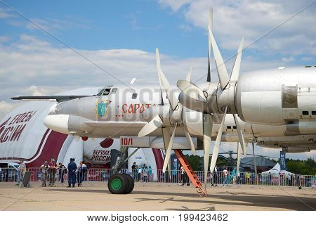 ZHUKOVSKY, RUSSIA - JULY 20, 2017: The nose of the engines of the strategic bomber-missile carrier Tu-95MS close-up. MAKS-2017