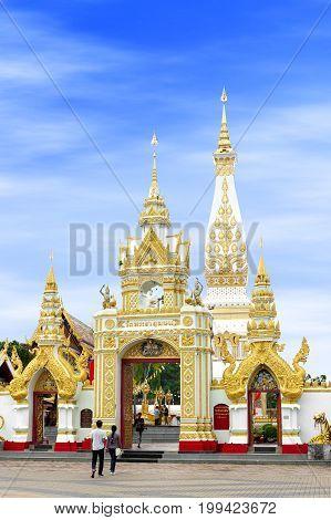 Nakhon Phanom, Thailand - May 2017: Main Doorway To Buddhist Temple Of Wat Phra That Phanom Houses F