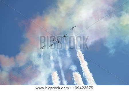 ZHUKOVSKY, RUSSIA - JULY 20, 2017: A performance of flight group of the Air Force of the UAE