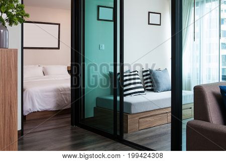 The Living room and Bedroom in condominium.