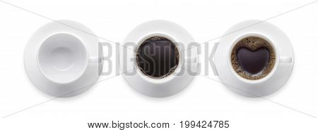 heart shape or love symbol on coffee cup empty coffee cup black hot coffee cup. 3 style coffee cup isolate on white background with clip path. Top view