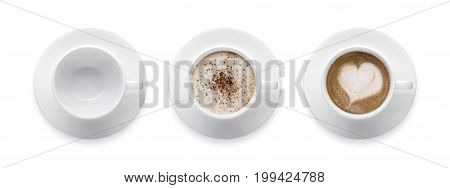 heart shape or love symbol on coffee cup empty coffee cup mocha and cappuccino coffee cup. 3 style coffee cup isolate on white background with clip path. Top view