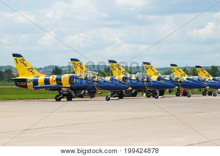 ZHUKOVSKY, RUSSIA - JULY 20, 2017: Planes of the latvian aerobatic team