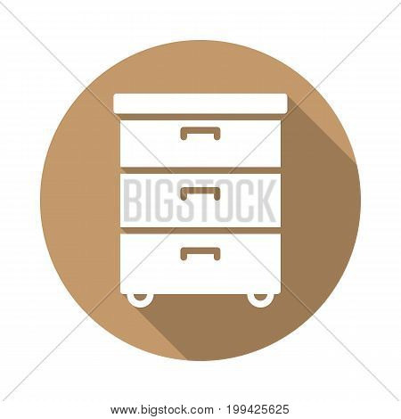 Office documents cabinet flat icon. Round colorful button, circular vector sign with long shadow effect. Flat style design