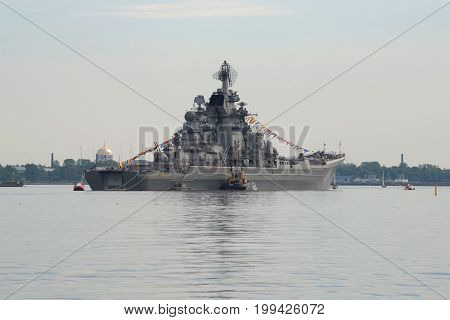 KRONSTADT, RUSSIA - JULY 29, 2017: The heavy nuclear-powered cruiser