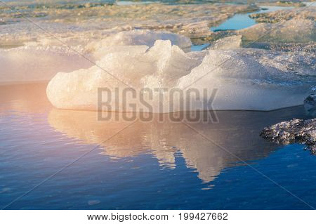 Winter natural lake with reflection Iceland natural landscape background