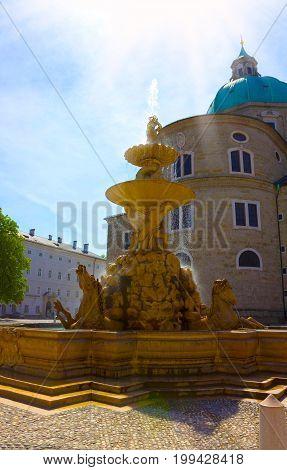The fountain at central place in Salzburg city , Austria at Salzburg, Austria