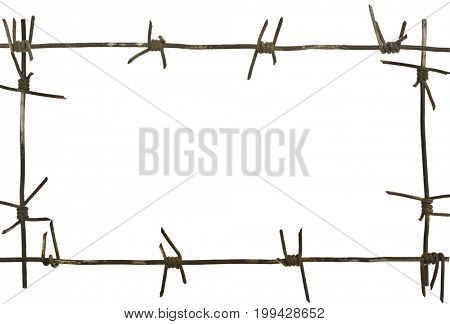 Frame of barbed wire