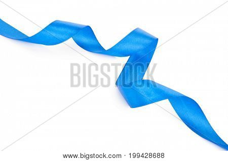 Blue ribbon isolated on white