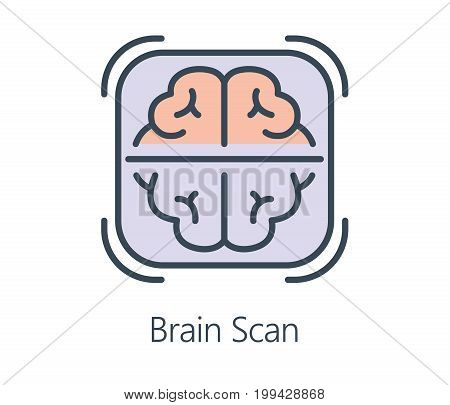 Icon design brain scan in flat line style. Symbol health check up and medical concept.