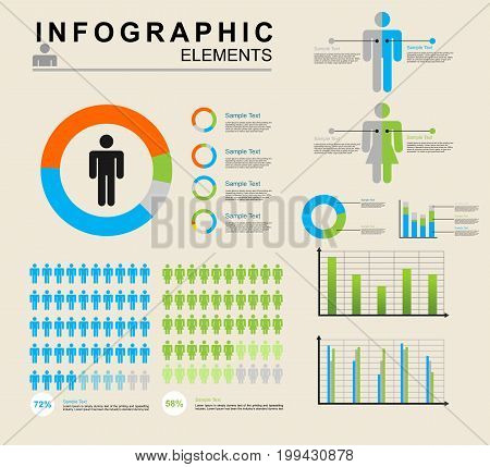 Human infographics elements vector illustration. Information Graphics