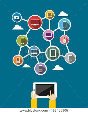 Internet communication. Devices communication. Networking. IT background concept.