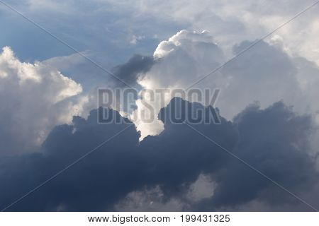 storm clouds in the sky . A photo