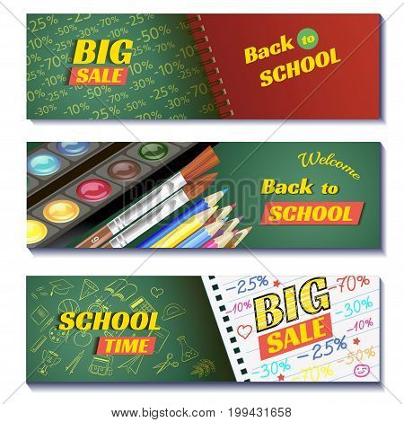 Back to school sale 3d banners. Can use for marketing, promotion, flyer, blog, web, social media. Vector illustration