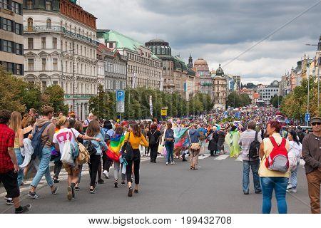 PRAGUE, CZECH REPUBLIC - 12.08.2017: Prague pride 2017. People on LGBT gay parade in august in Prague, Czech Republic
