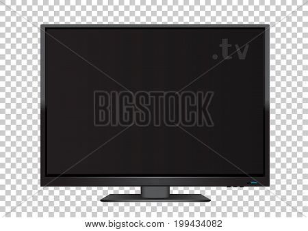 TV on transparent background. Flat modern empty computer monitor or digital plasma television device. Electronic media equipment