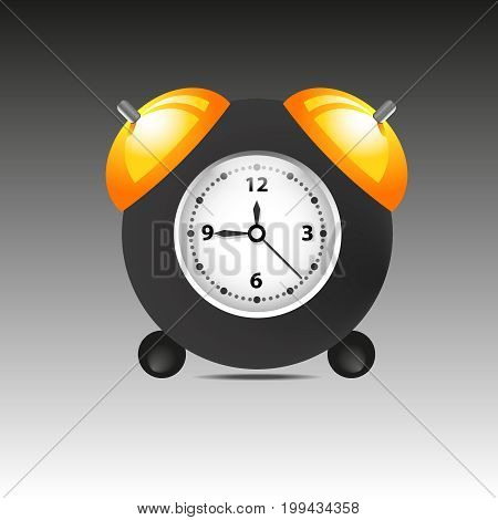 Black alarm clock isolated on background. Vector illustration