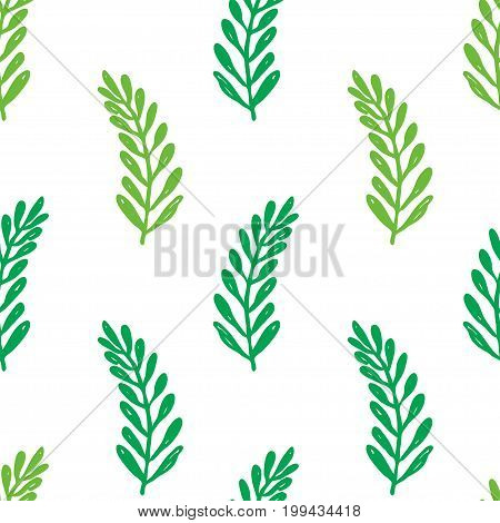 Vector seamless cartoon branch pattern. Cute green hand drawn pattern for paper textile handmade decoration scrap-booking polygraphy t-shirt cards.