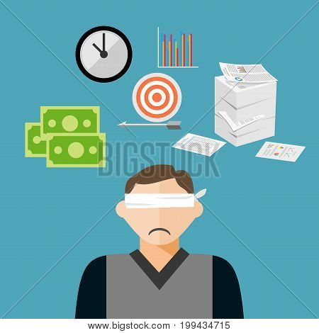 Confused blindfold businessman has many targets. Confused businessman concept.