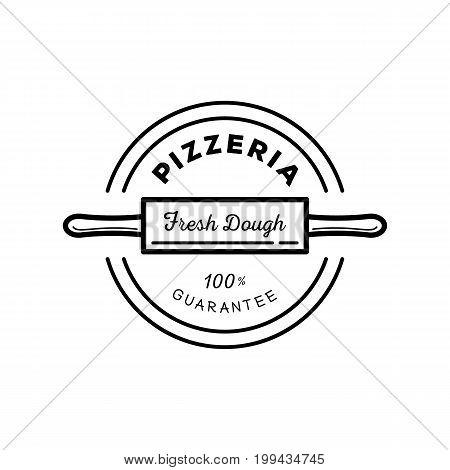 fresh dough pizza guarantee icon design with rolling pin icon