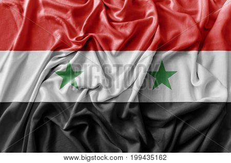 Ruffled waving Syria flag national flag close
