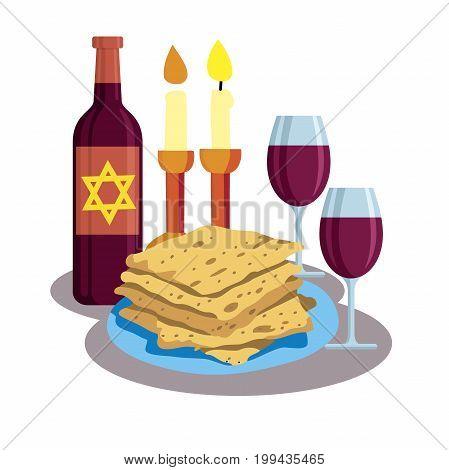 Kabbalat Shabbat, family dinner. greeting card Shabbat shalom. Candles, cups and matzo. Jewish Holiday. Vector illustration
