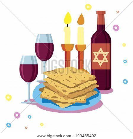 greeting card Shabbat shalom. Candles, cups and matzo. Jewish Holiday. Vector illustration
