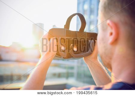 Vr Goggles. Man Ready To Wear Virtual Reality Goggles. The Vr Headset Design Is Generic And No Logos