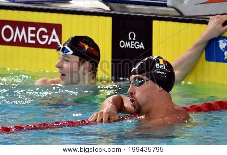 Hong Kong China - Oct 30 2016. TIMMERS Pieter (BEL) and ZELLMANN Poul (GBR) after the Men's Freestyle 200m Final. FINA Swimming World Cup Victoria Park Swimming Pool.