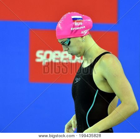 Hong Kong China - Oct 30 2016. Olympian and world champion swimmer Yulia YEFIMOVA (RUS) at the start in Women's Breaststroke 50m Final. FINA Swimming World Cup Victoria Park Swimming Pool.
