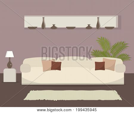 Living room in cocoa color. There is a white sofa with pillows, a lamp on the table, a flower and other objects in the image. In the wall there is also a niche with dishes. Vector flat illustration