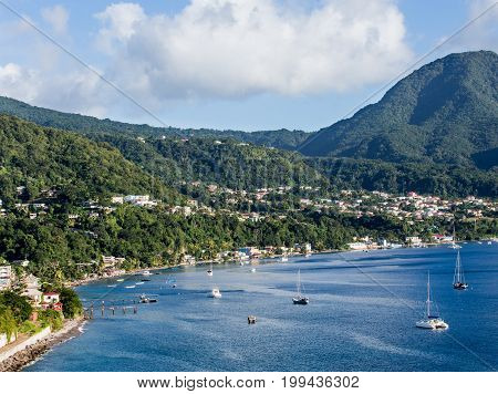 Blue Water and Green Hills of Dominica in the Caribbean