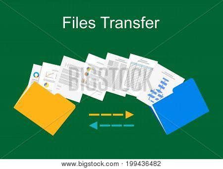 Files transfer. Documents management illustration. Files sharing. Data management. Copying