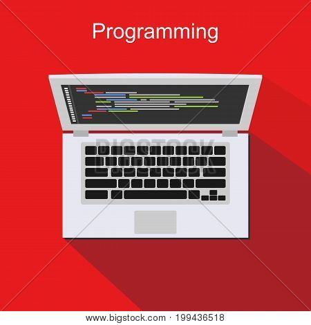 Programming. Coding. Banner illustration of application development concept.