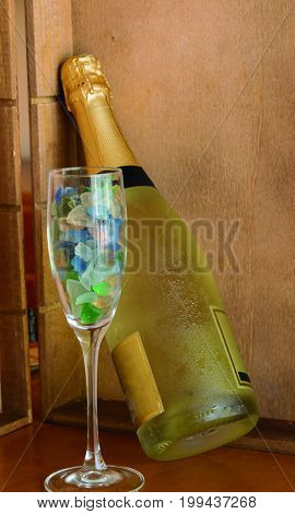 Sample of cold champagne for special occasions and celebrations.