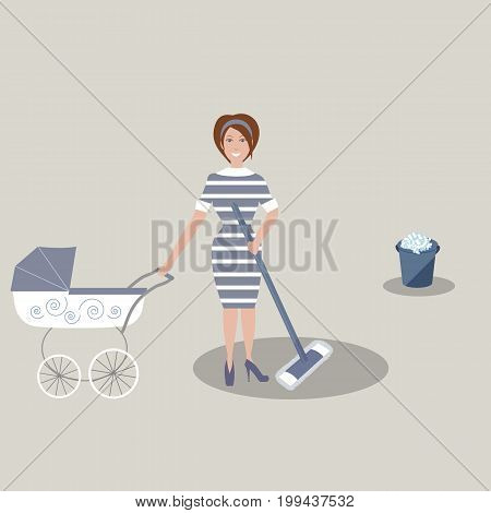 Cute young mother in dark blue dress with white stripes with a baby carriage and the tools for housekeeping: a bucket with soapy foam, MOP. Gray background. Vector illustration