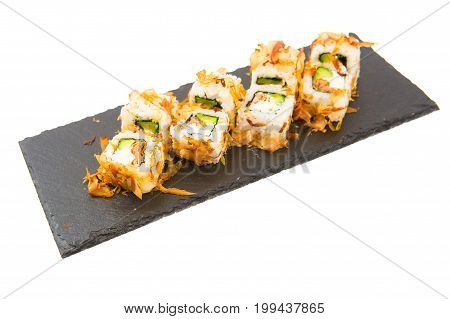Japanese Food. Philadelphia Roll Sushi With Salmon And Cream Cheese