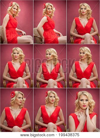 Fashionable attractive blonde woman in red dress sitting on chair. Beautiful elegant woman posing in elegant scenery with a red flower in hair..Sensual gorgeous young woman on high heels in red outfit