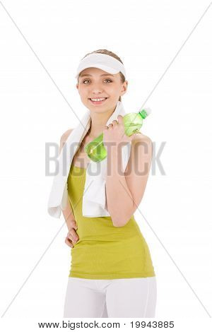 Fitness Teenager Woman In Sportive Outfit Hold Bottle