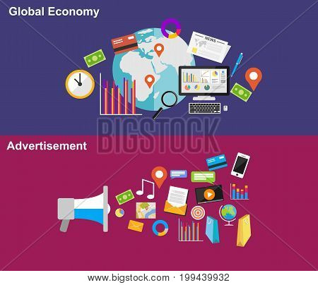 Global economy and advertisement design illustration concepts. Business background